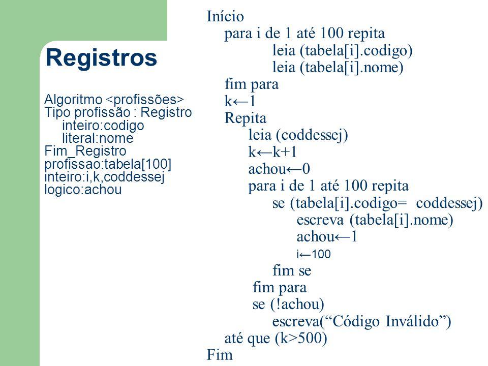 Registros Início para i de 1 até 100 repita leia (tabela[i].codigo)